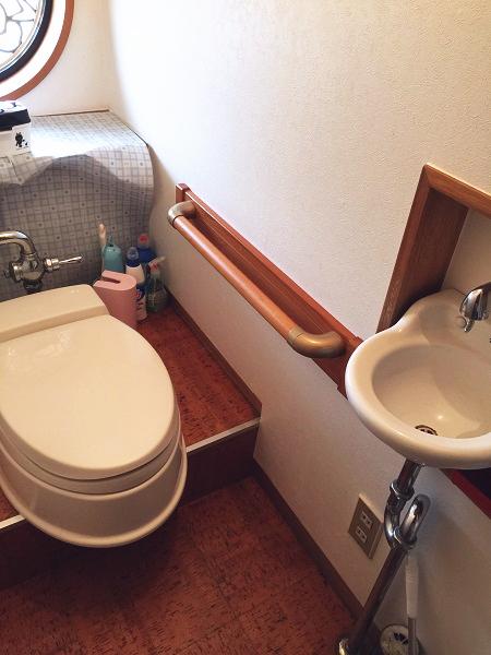 トイレ補強板付き手すりの取付工事1