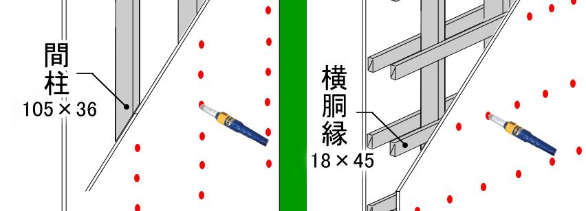 間柱・柱と横胴縁