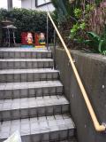 屋外手すり壁固定と支柱の併用したTOTO手すり工事
